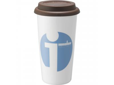 Promotional Giveaway Drinkware | Mega Double-Wall Ceramic Tumbler 15oz Brown