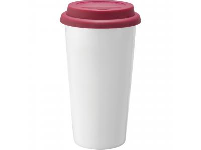 Promotional Giveaway Drinkware | Mega Double-Wall Ceramic Tumbler 15oz Red