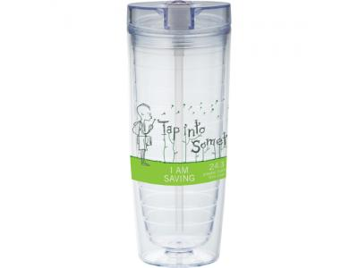 Promotional Giveaway Drinkware | Hot & Cold Flip N Sip Vortex Tumbler 20oz Clear