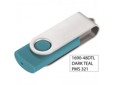 Promotional Giveaway Technology   Rotate Flash Drive 2GB Dark Teal
