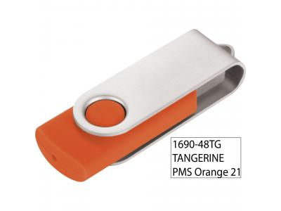 Promotional Giveaway Technology   Rotate Flash Drive 2GB Tangerine