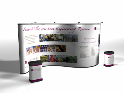 20 Ft Serpentine Pop Up Displays w/Photo Mural Panels | Pop Up Display