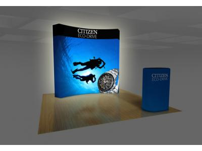 Pop up Displays | VBurst 8' Kit Curved BACKLIT 10'x10' space