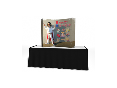 V Burst Pop Up Displays | 5' V Burst Curved Frame Table Top