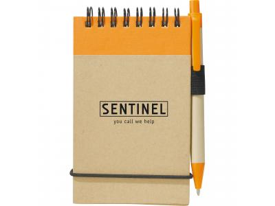 Promotional Giveaway Office   The Recycled Jotter & Pen Natural with Orange Trim