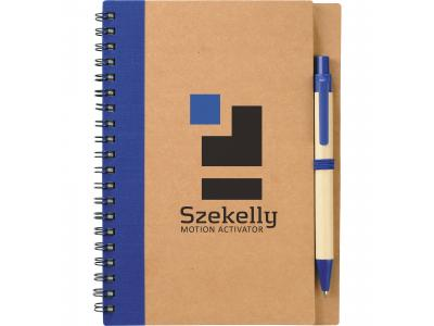 Promotional Giveaway Office | The Eco Spiral Notebook & Pen Blue