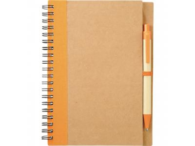 Promotional Giveaway Office | The Eco Spiral Notebook & Pen Orange