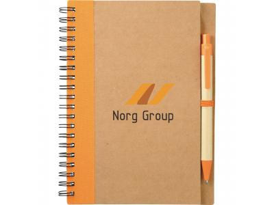 Promotional Giveaway Office   The Eco Spiral Notebook & Pen Orange