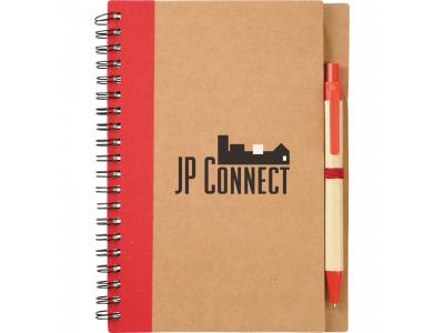 Promotional Giveaway Office   The Eco Spiral Notebook & Pen Red