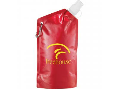 Promotional Giveaway Drinkware | Cabo 20-Oz. Water Bag With Carabiner Metal Red
