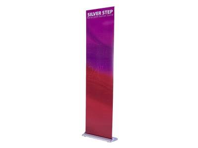 "24"" Silver Step Retractable Banner Stand 