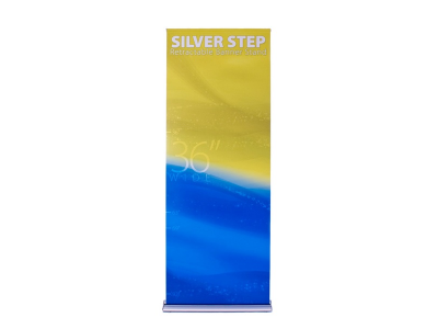 "36"" Silver Step Retractable Banner Stand 