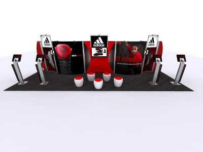 10 x 30 Version of Visionary Designs Hybrid Exhibit   Trade Show Displays