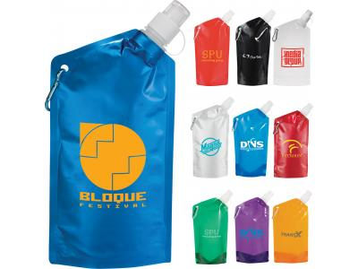 Promotional Giveaway Drinkware | Cabo 20-Oz. Water Bag With Carabiner